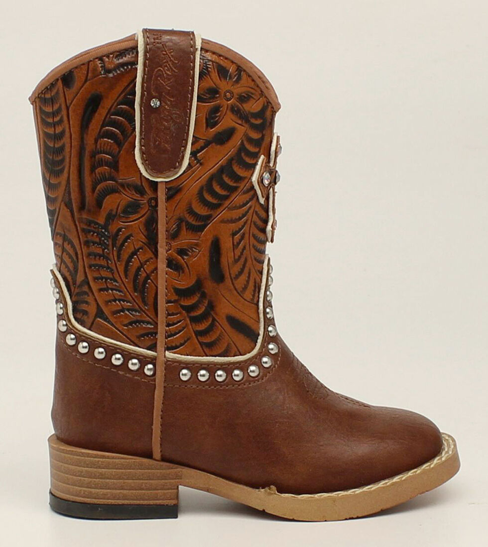Blazin Roxx Toddler Girls' Cross  Cowgirl Boots - Square Toe, Brown, hi-res