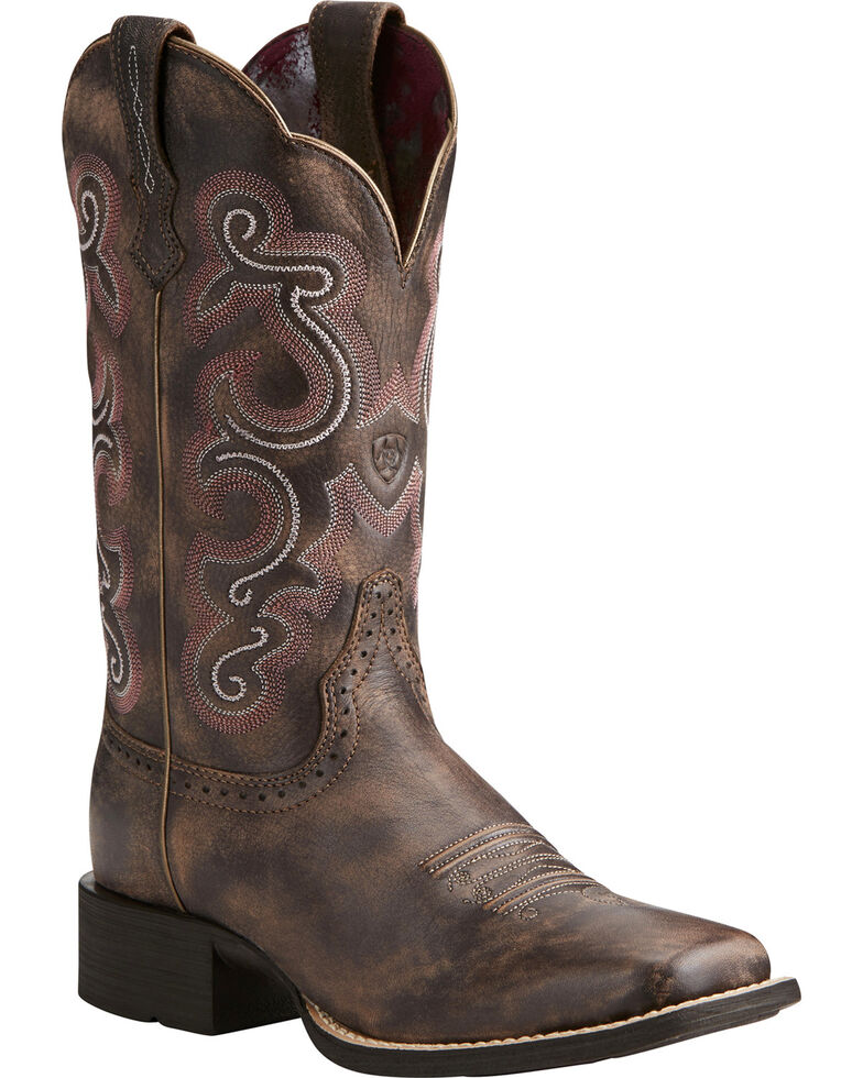 Ariat Women's Quickdraw Scroll Stitch Cowgirl Boots - Square Toe, Chocolate, hi-res