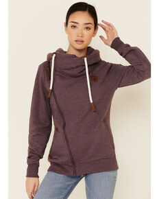 Wanakome Women's Solid Fig Athena Cowl Neck Zip-Front Hoodie , Burgundy, hi-res