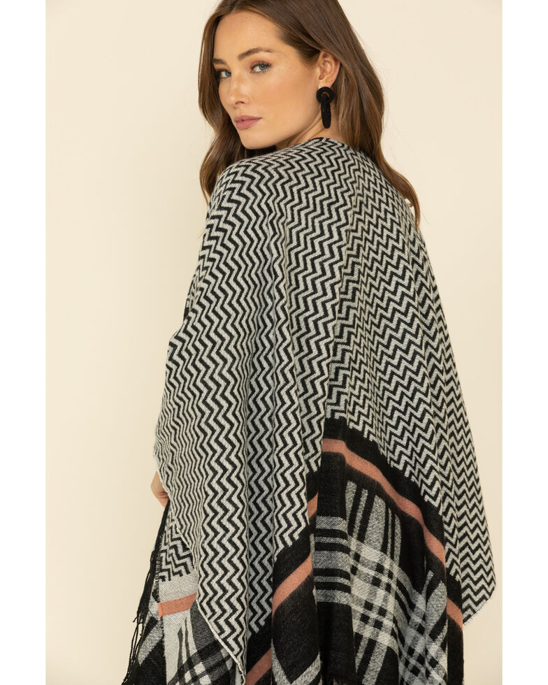San Diego Hat Co. Women's Fuzzy Striped Poncho, Black, hi-res