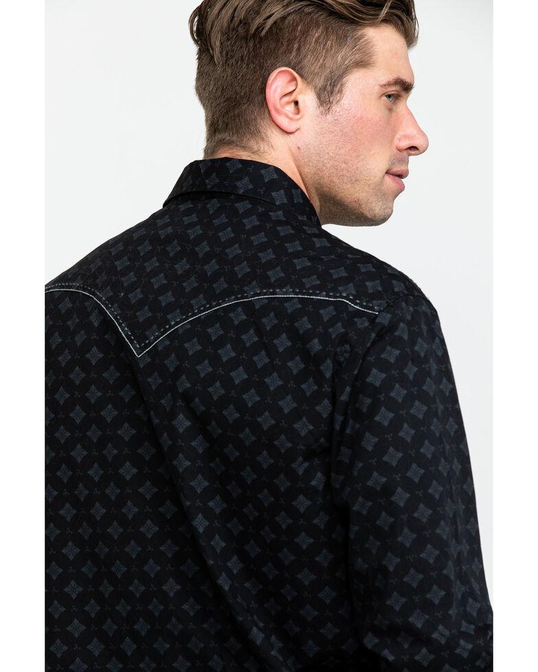 Rock & Roll Cowboy Men's Crinkle Washed Geo Print Long Sleeve Western Shirt - Big, Black, hi-res