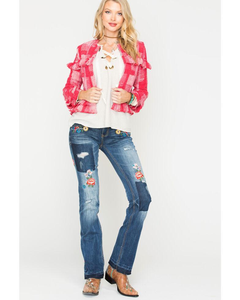 Jack by BB Dakota Women's Ruby Sparks Fly Plaid Blazer , Ruby, hi-res