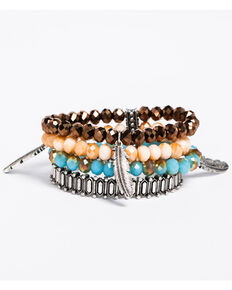 Idyllwind Women's Feather Beaded 4 Bracelet Stack, Multi, hi-res