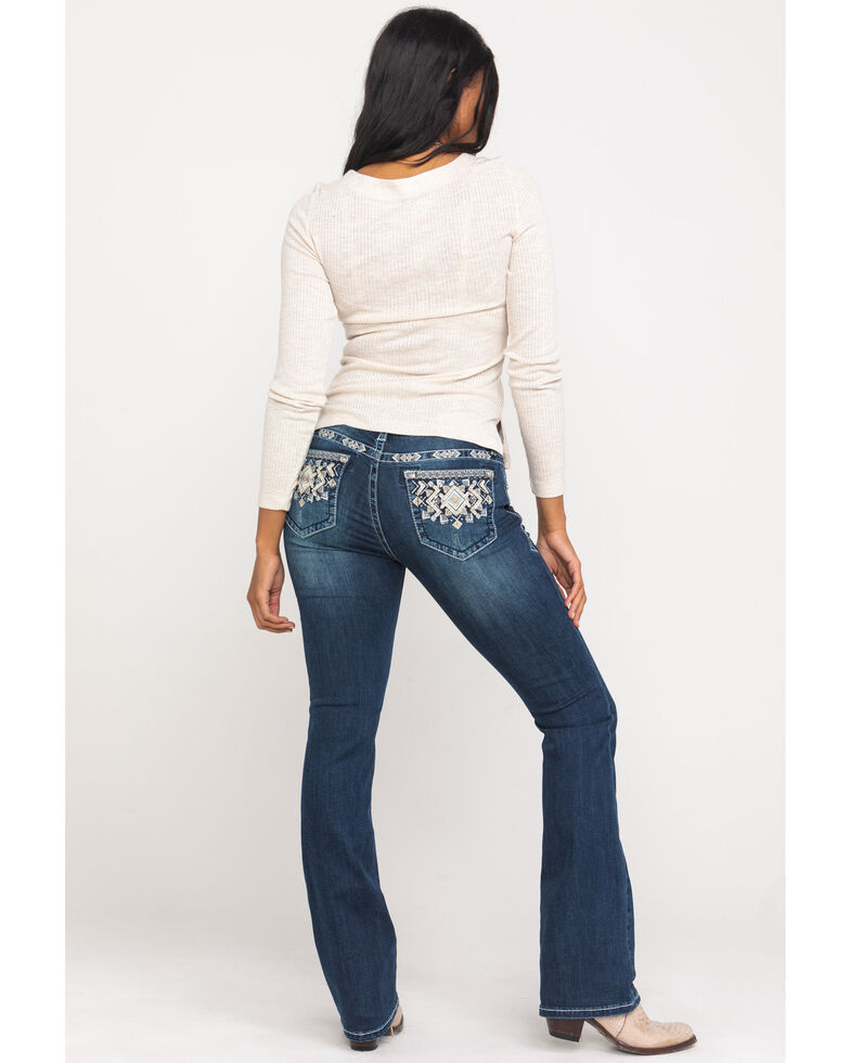 """Grace in LA Women's Dark Geo Embroidered 34"""" Bootcut Jeans , Blue, hi-res"""