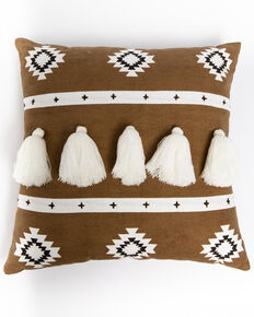 BB Ranch Taupe Aztec Tassel Pillow, Tan, hi-res