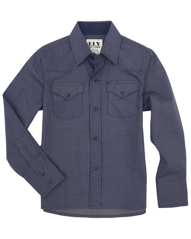 Ely Cattleman Boys' Navy Geo Print Long Sleeve Western Shirt , Navy, hi-res