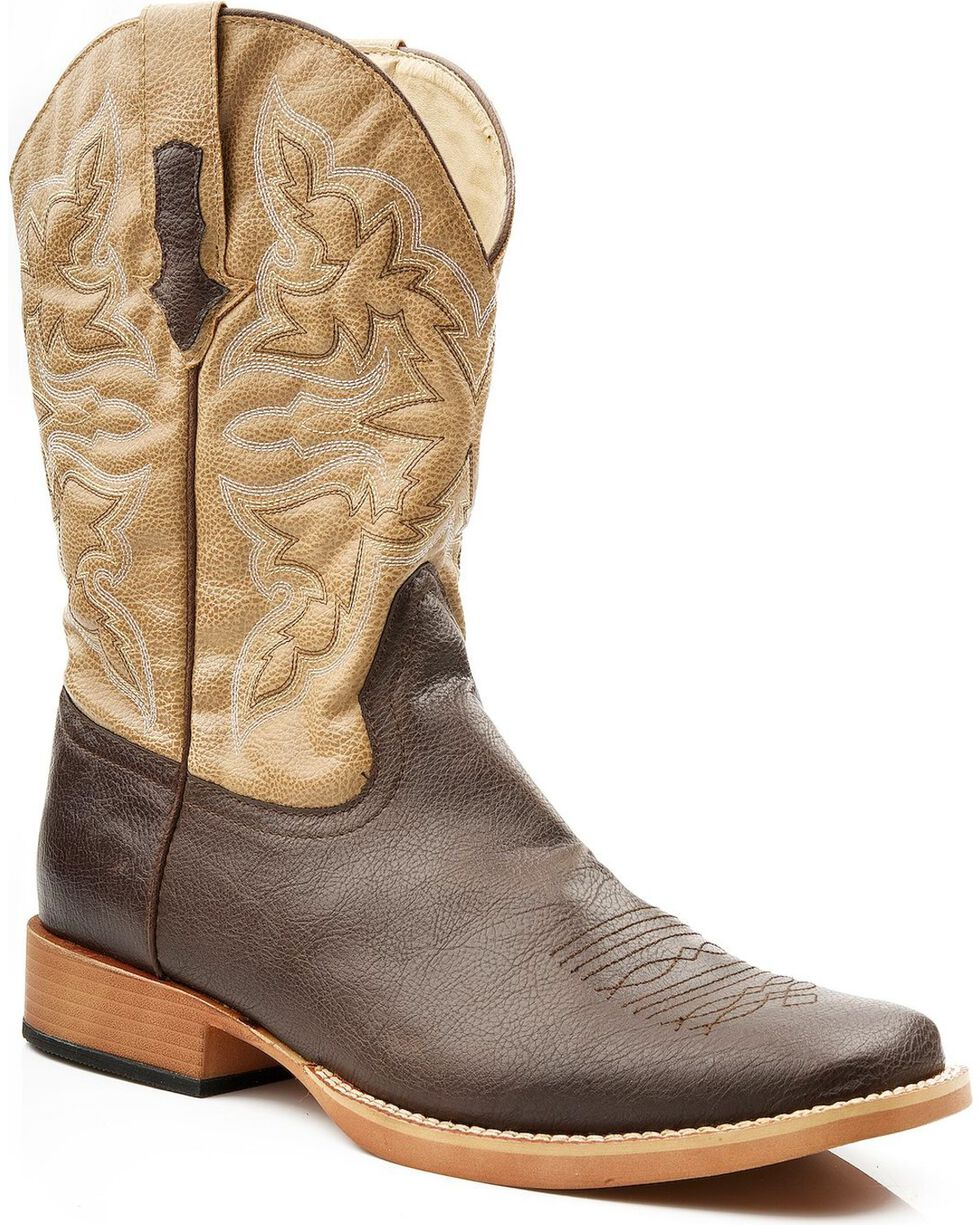 Roper Men's Tan Faux Leather Cowboy Boots - Square Toe, Brown, hi-res