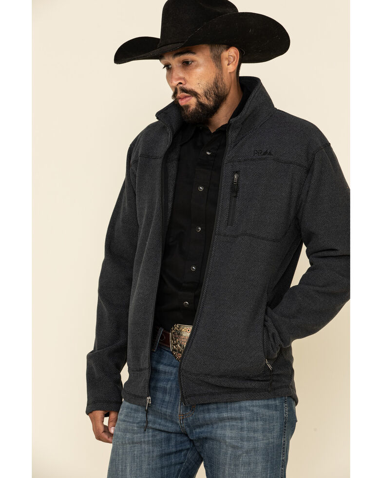 Powder River Outfitters Men's Black Waffle Melange Knit Zip-Front Jacket , Black, hi-res