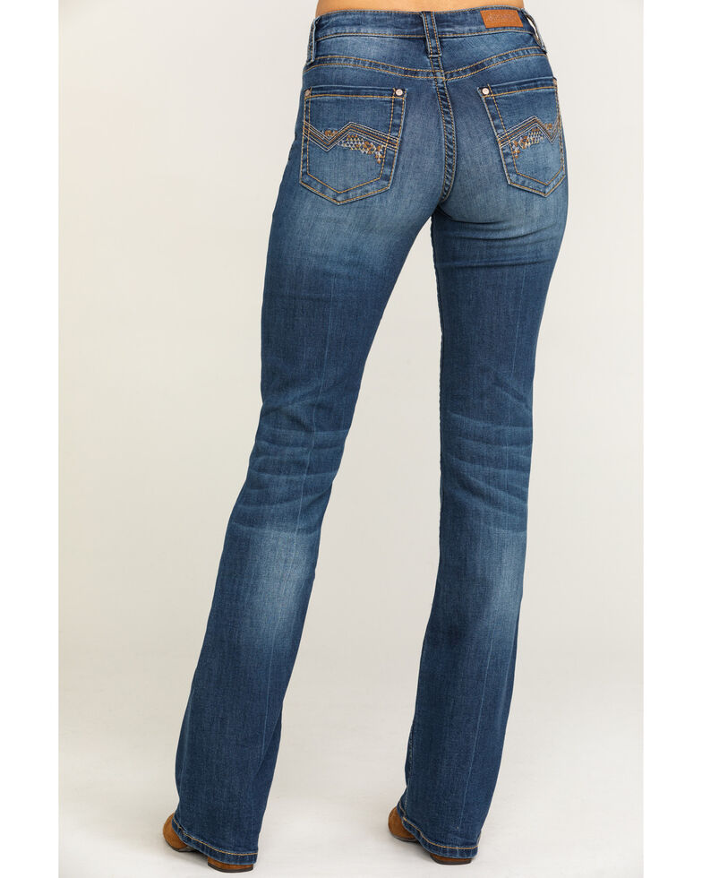 Shyanne Women's Medium Aztec No Flap Bootcut Jeans, Blue, hi-res