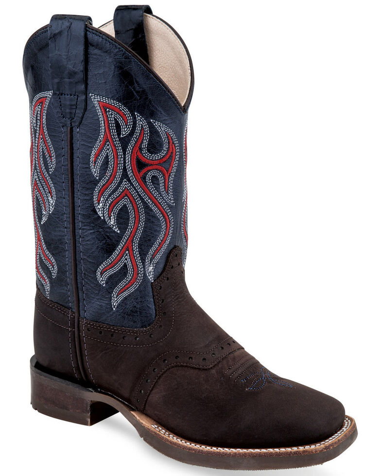 Old West Boys' Goodyear Western Boots - Wide Square Toe, Multi, hi-res