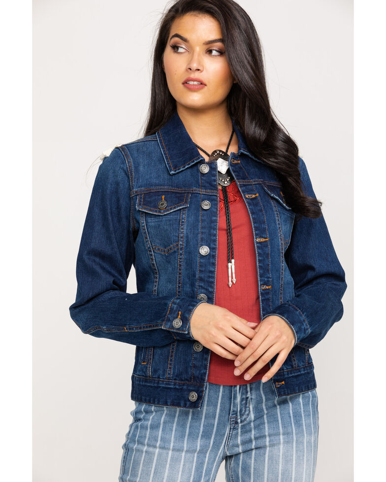 Rock & Roll Denim Women's Aztec Embroidered Tassel Denim Jacket, Blue, hi-res