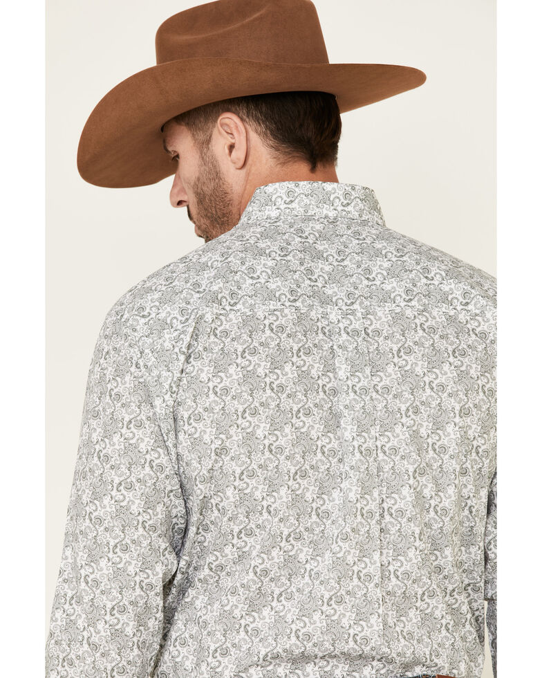 George Strait By Wrangler Men's White Paisley Print Long Sleeve Button-Down Western Shirt - Big , White, hi-res
