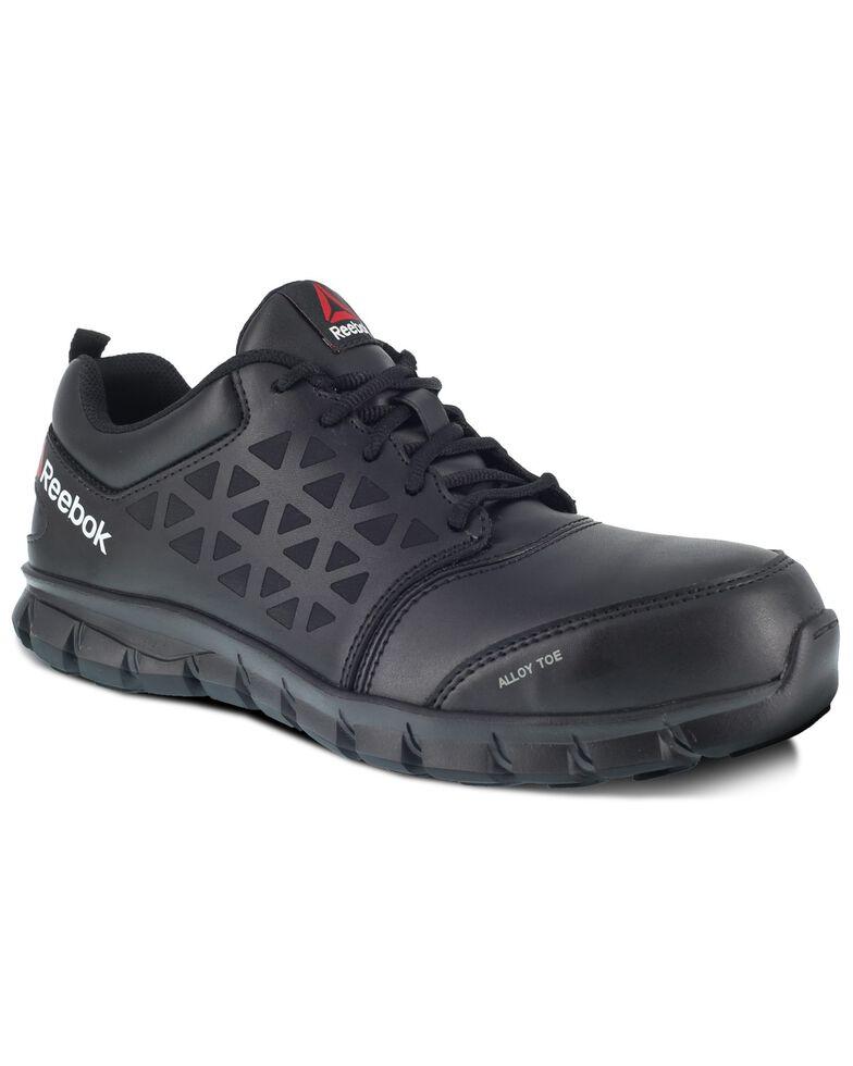 Reebok Men's Black Sublite Cushion Work Shoes - Alloy Toe, Black, hi-res