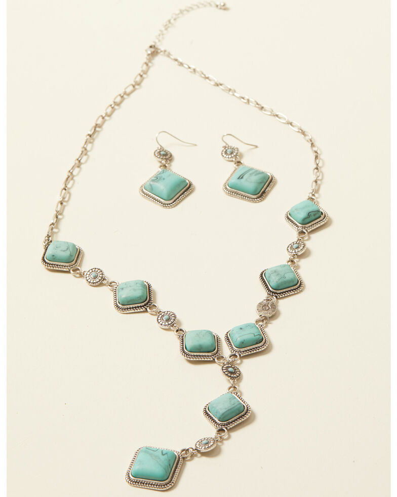 Shyanne Women's Bella Grace Turquoise Stone Jewelry Set, Silver, hi-res