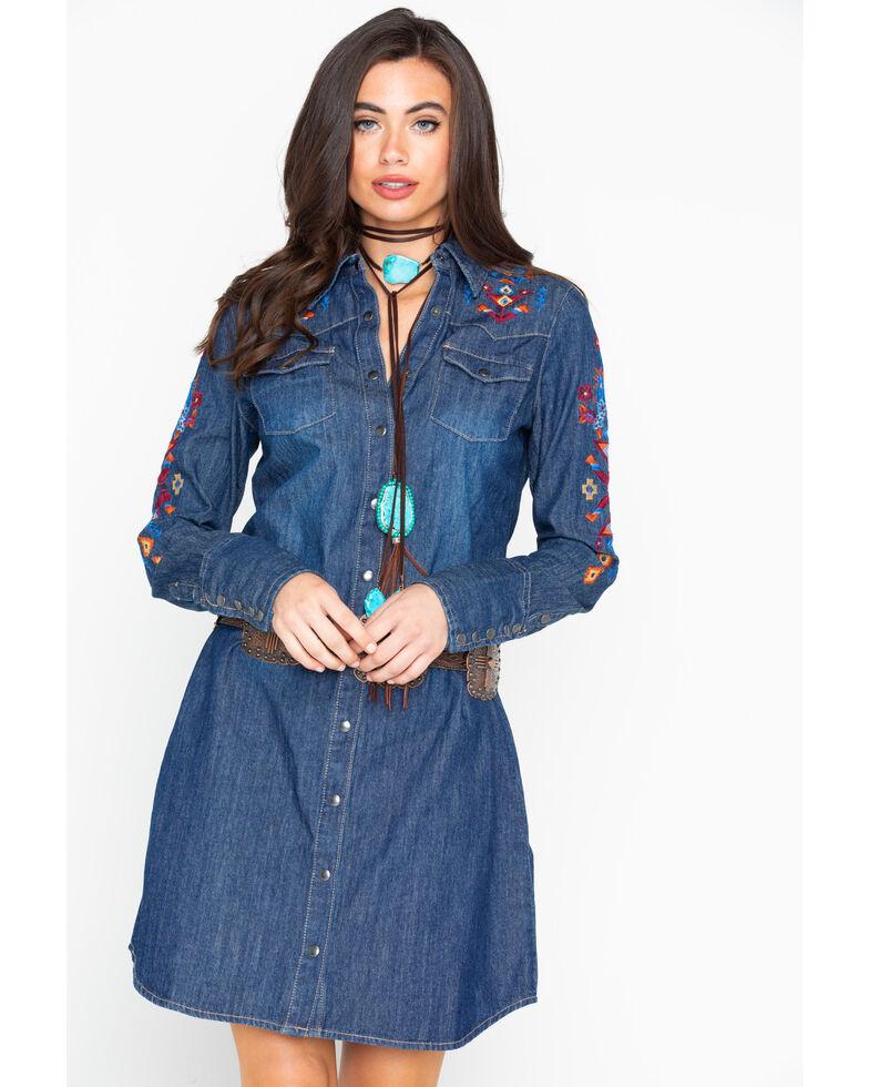 Stetson Women's Embroidered Denim Long Sleeve Dress , Indigo, hi-res