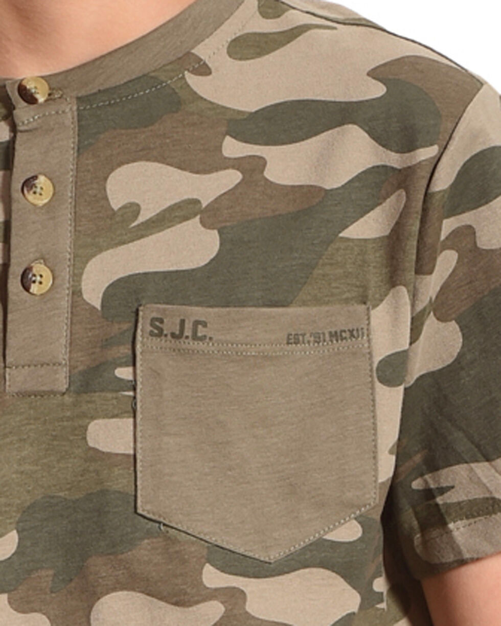 Silver Boys' Army Camo Short Sleeve Henley Tee, Green, hi-res