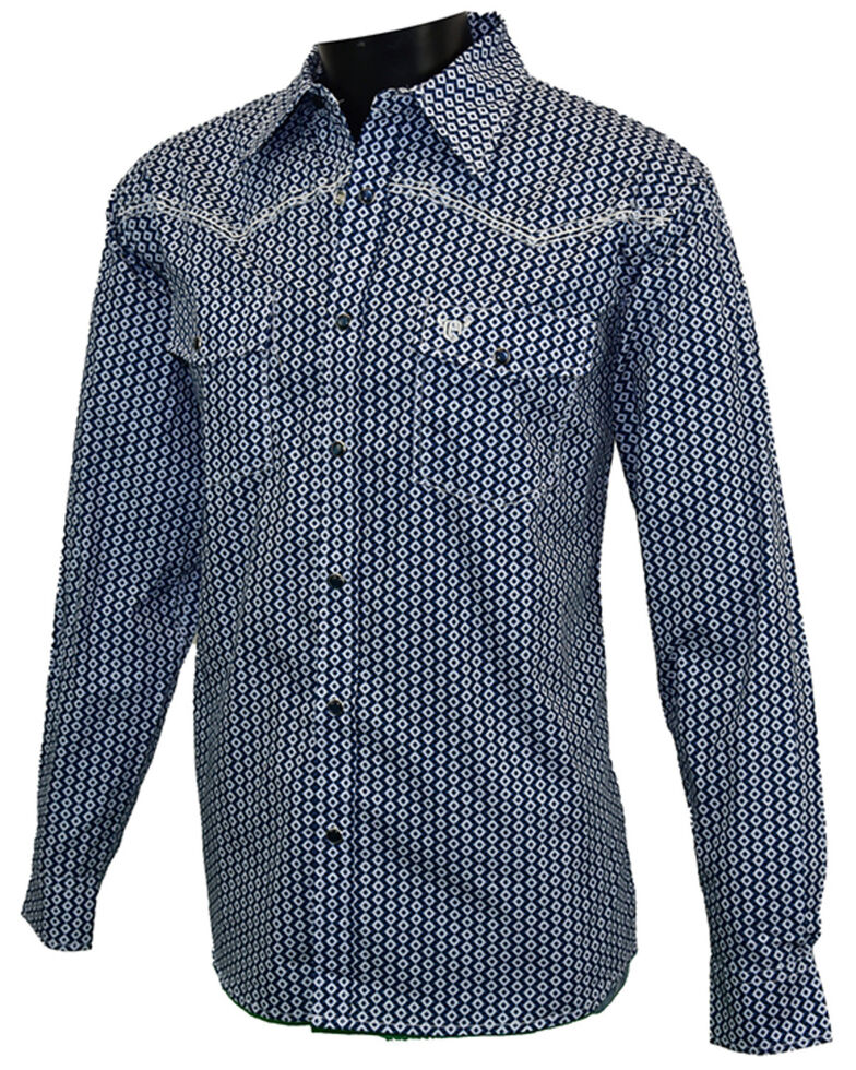 Cowboy Hardware Men's Navy Geo Print Long Sleeve Snap Western Shirt , Navy, hi-res