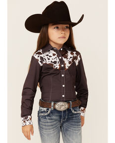 Ranch Dress'n Girls' Cattle Drive Print Yoke Long Sleeve Snap Western Core Shirt , Brown, hi-res