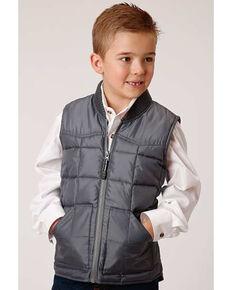 Roper Boys' Grey Rangewear Poly Filled Down Vest, Grey, hi-res