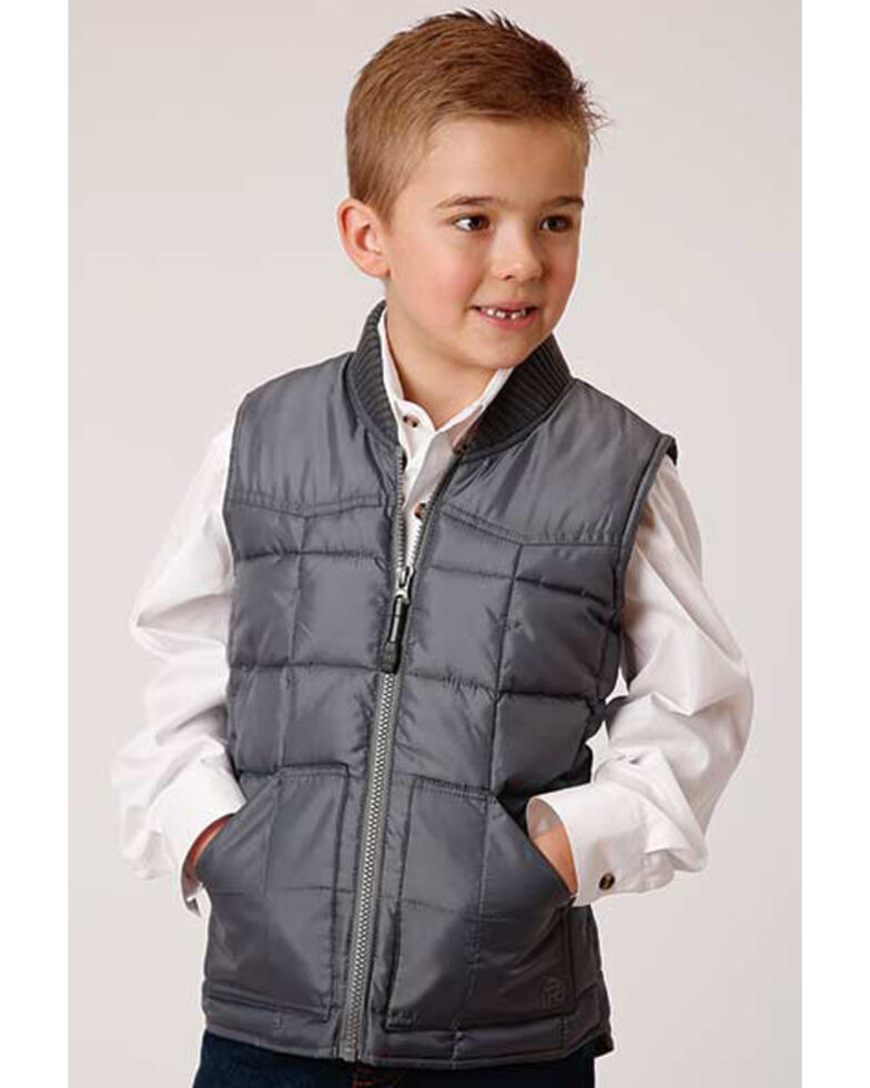 Roper Boys' Grey Rangewear Poly Filled Down Vest, Grey, hi-res
