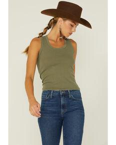Free People Women's U-neck Tank Top, Olive, hi-res