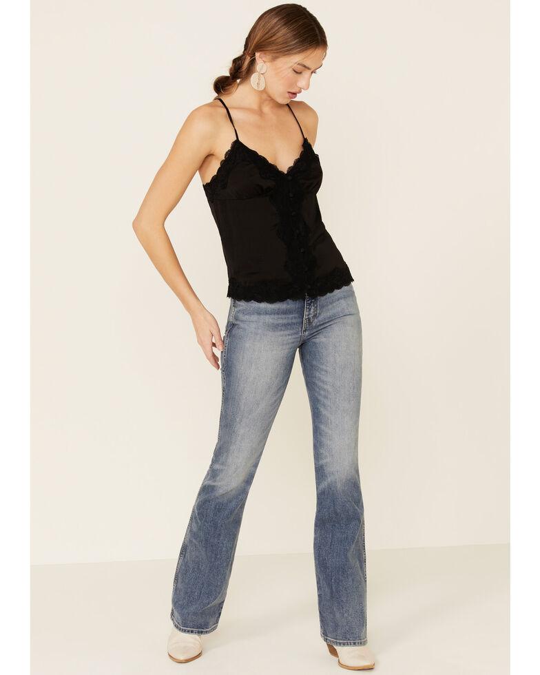 Wishlist Women's Satin Lace Trim Button Down Cami Tank Top, Black, hi-res