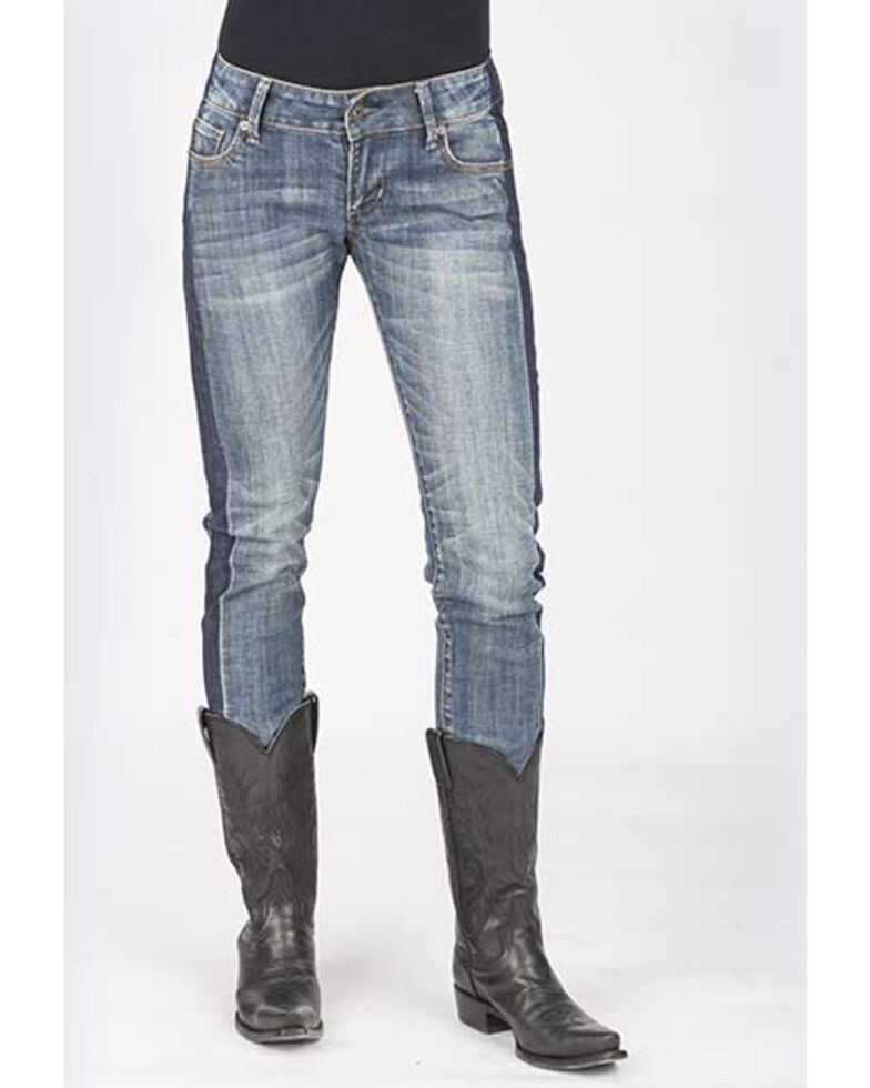 Stetson Women's 503 pixie Stix Fit Straight Leg Jeans, Blue, hi-res