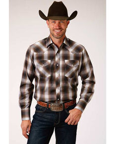Roper Men's Classic Burgundy Med Plaid Long Sleeve Western Shirt , Burgundy, hi-res