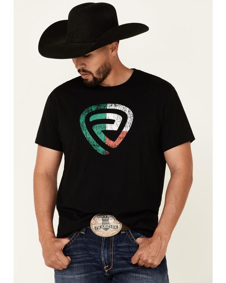 Rock & Roll Denim Men's Mexican Flag Logo Short Sleeve T-Shirt , Black, hi-res