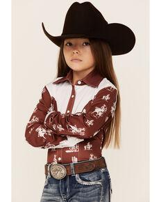 Ranch Dress'n Girls' Rust Buckaroo Print Piped Yoke Long Sleeve Snap Western Core Shirt , Multi, hi-res