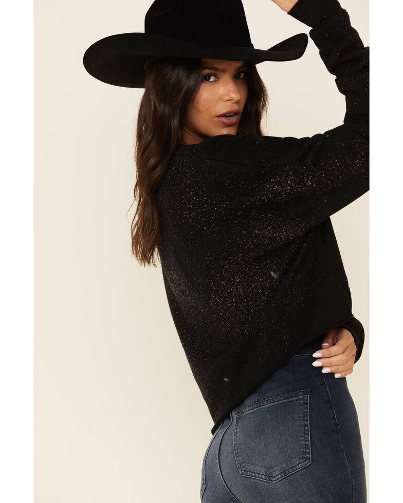Ruby's Rubbish Women's Bleach Splatter Mamacita Graphic Cropped Pullover Sweatshirt , Black, hi-res