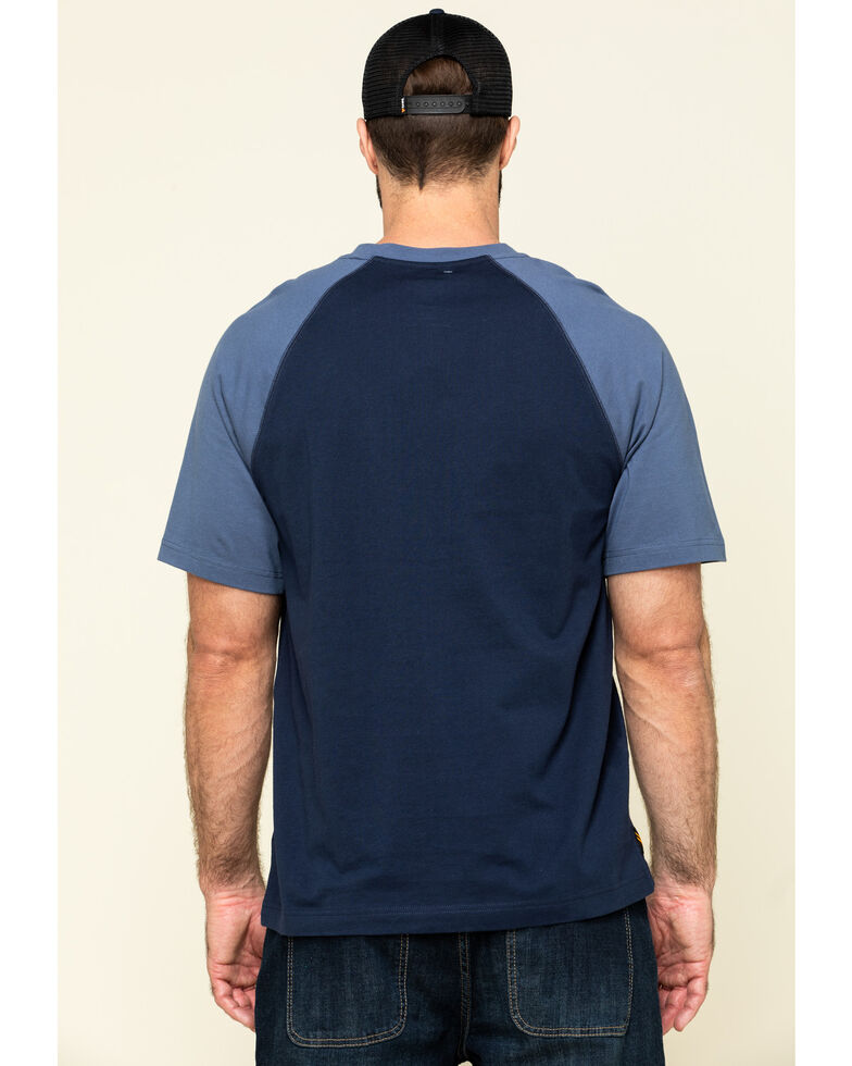 Hawx Men's Navy Midland Short Sleeve Baseball Work T-Shirt - Tall , Navy, hi-res