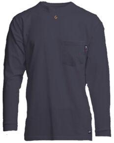 Lapco Men's FR Solid Navy Long Sleeve Work Pocket T-Shirt , Navy, hi-res