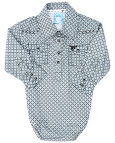 Cowboy Hardware Infant Boys' Diamond Star Geo Print Embroidered Long Sleeve Snap Western Onesie , Grey, hi-res