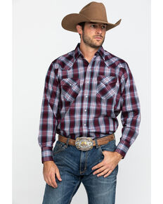 Ely Cattleman Men's Burgundy Assorted Textured Plaid Long Sleeve Western Shirt - Tall  , Multi, hi-res