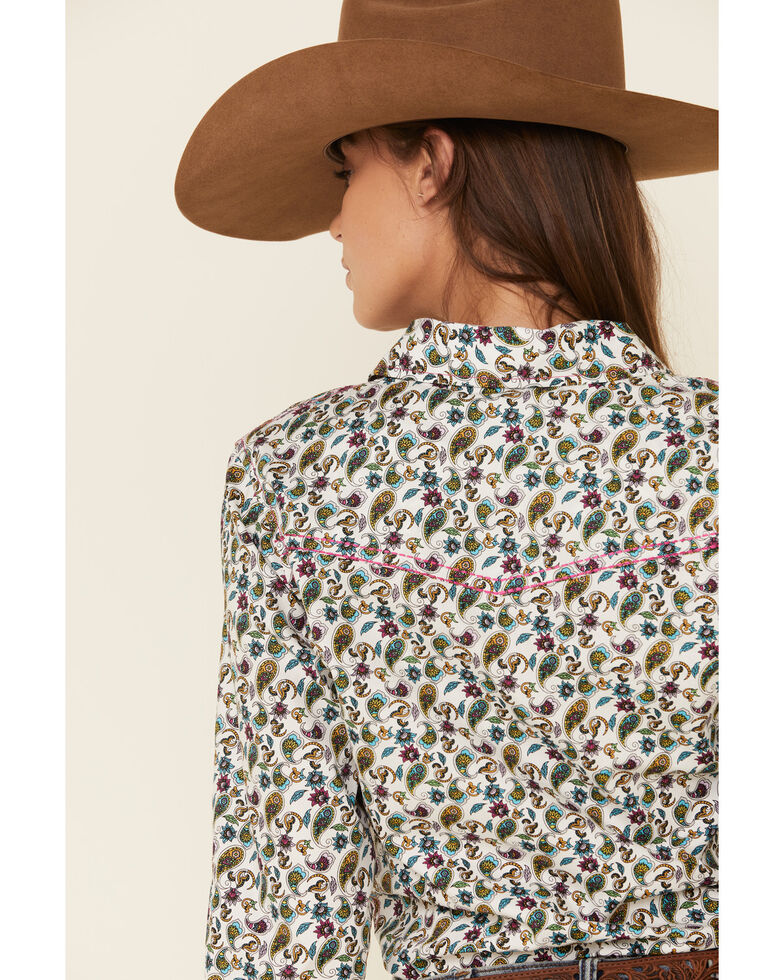 Cowgirl Hardware Women's Multi Paisley Print Long Sleeve Western Shirt , Multi, hi-res