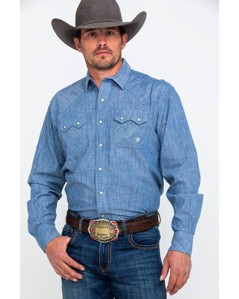 Ariat Men's Ironhawk Retro Long Sleeve Western Shirt, Blue, hi-res