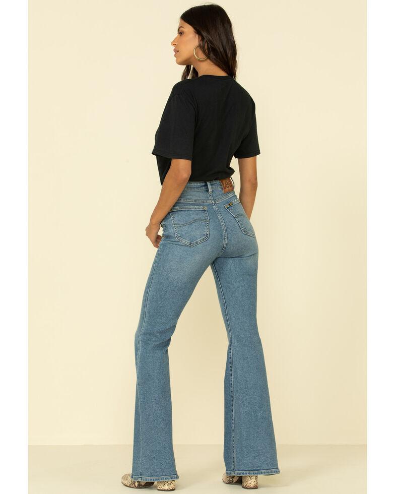 Lee Women's Medium Blue High Rise Button Front Flare Jeans, Blue, hi-res