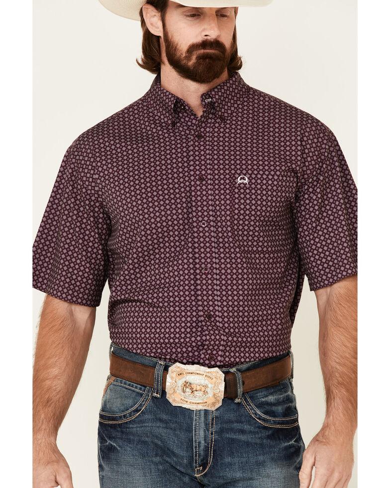 Cinch Men's Arena Flex Purple Geo Print Short Sleeve Western Shirt , Purple, hi-res