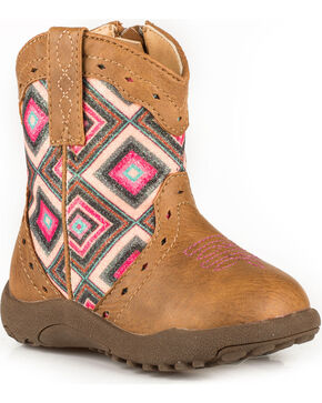 Roper Infant Girls' Cowbaby Glitter Geo Pre-Walker Cowgirl Boots - Round Toe, Tan, hi-res