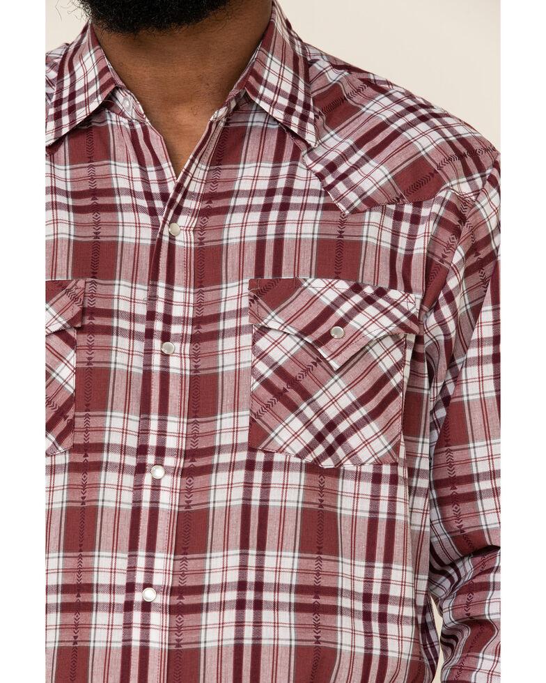Ely Walker Men's Blue & Burgundy Small Plaid Long Sleeve Western Shirt , Burgundy, hi-res