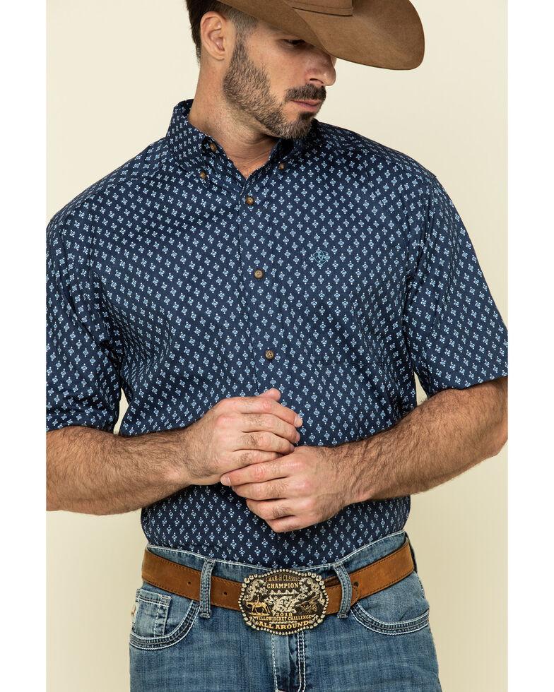 Ariat Men's Trussville Navy Geo Print Short Sleeve Western Shirt - Big , Navy, hi-res