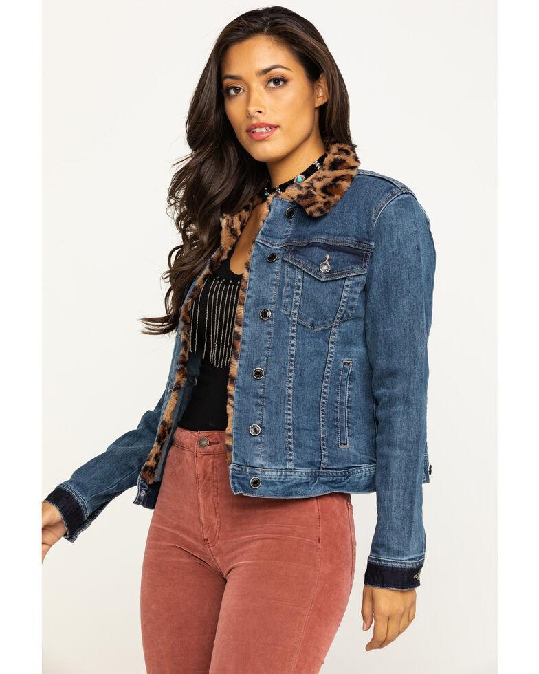 Grace in LA Women's Leopard Trim Denim Jacket, Blue, hi-res