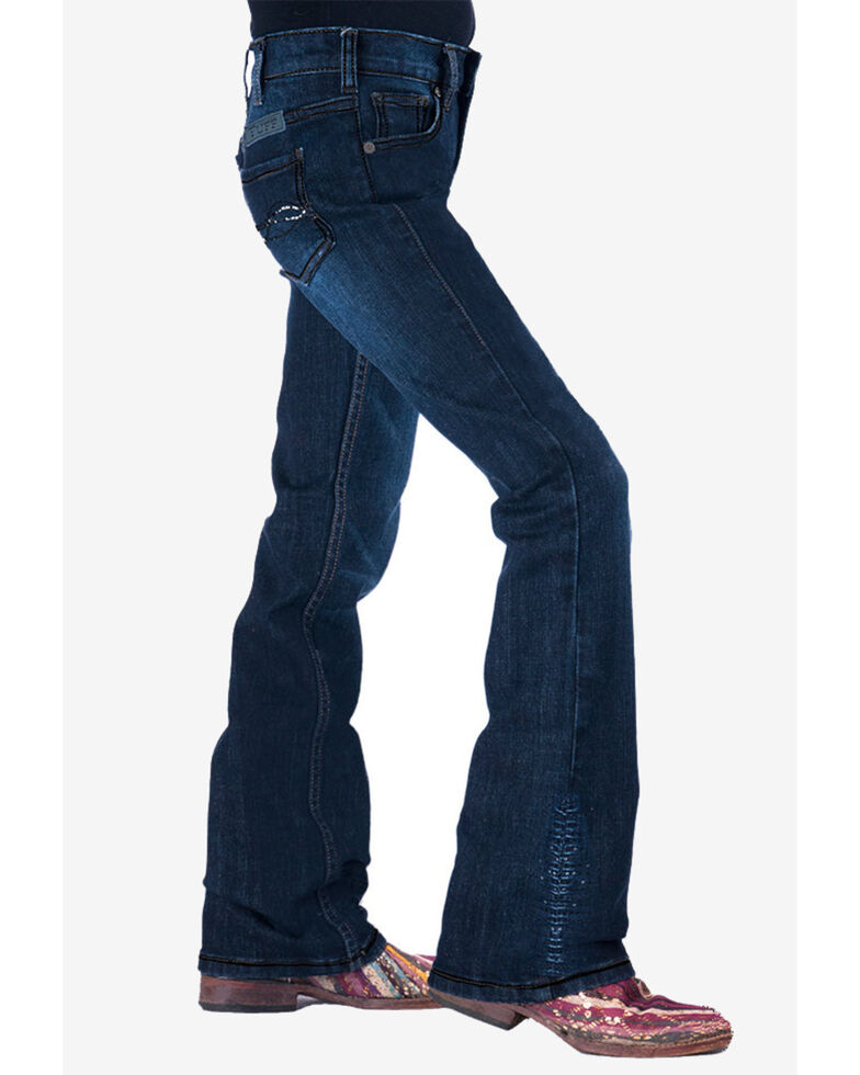 Cowgirl Tuff Girls' Shimmer Blue Jeans, Blue, hi-res