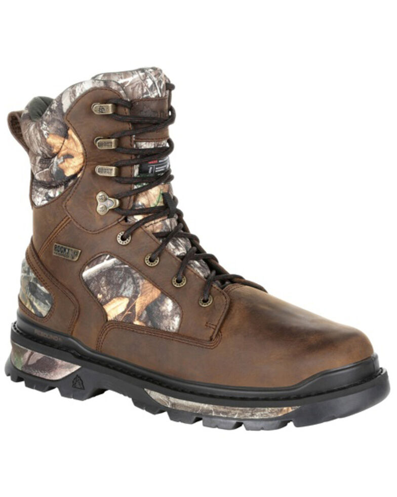 Rocky Men's Rams Horn Insulated Outdoor Boots - Soft Toe, Bark, hi-res