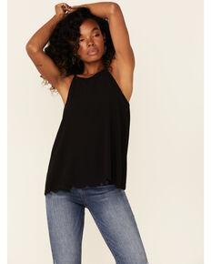 Moa Moa Women's Black High Neck Scallop Edge Tank Top , Black, hi-res