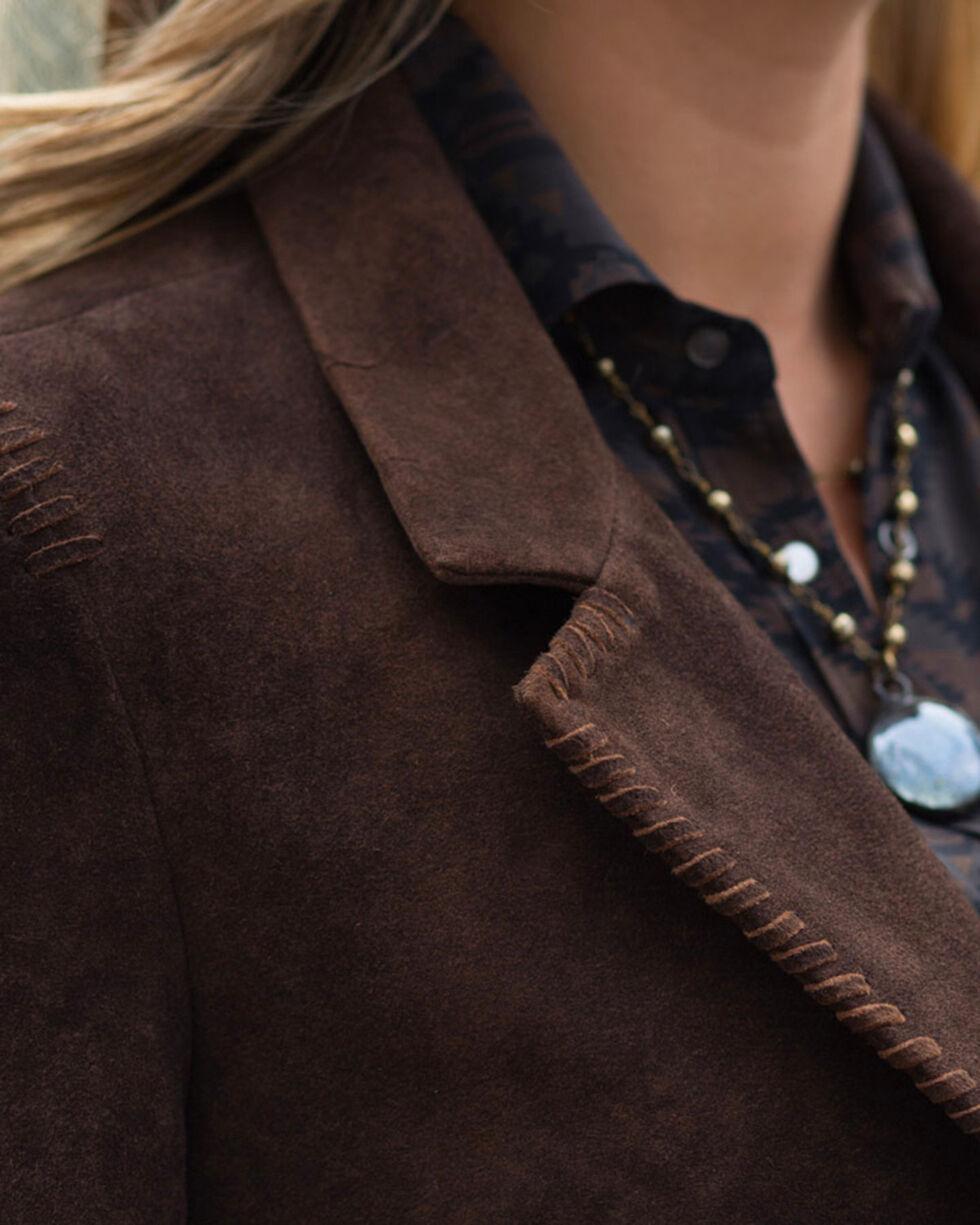 Ryan Michael Women's Suede Whip Stitch Blazer , Brown, hi-res
