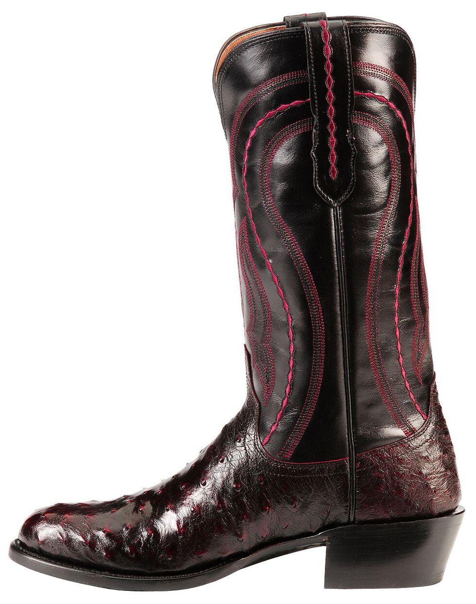 Lucchese Handmade 1883 Full Quill Ostrich Montana Cowboy Boots - Medium Toe, Black Cherry, hi-res