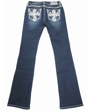 Grace In LA Women's Cross Embroidered Pocket Dark Boot Jeans , Blue, hi-res