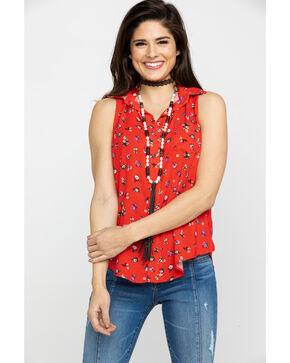 Nikki Erin Women's Red Floral Tie Front Western Tank Top, Red, hi-res